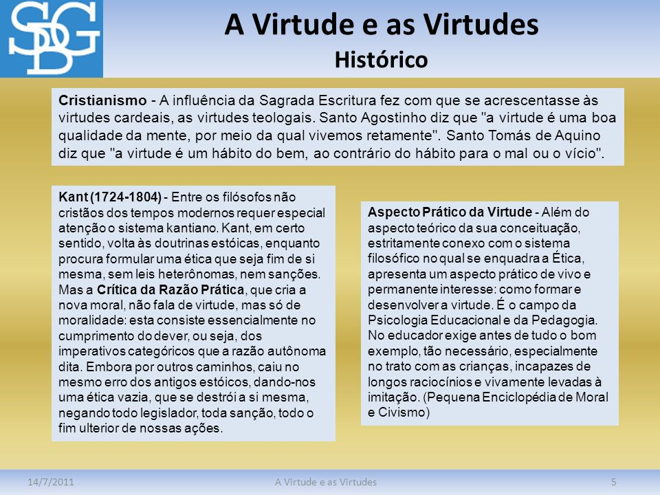 A Virtude e as Virtudes Histórico