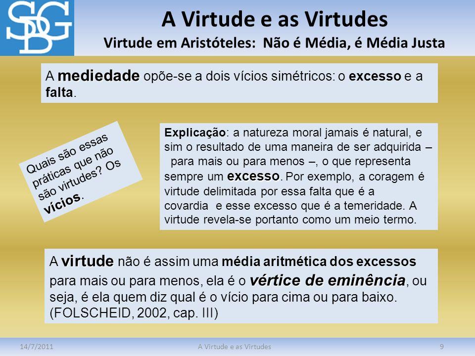 A Virtude e as Virtudes Virtude em Aristóteles: Não é Média, é Média Justa
