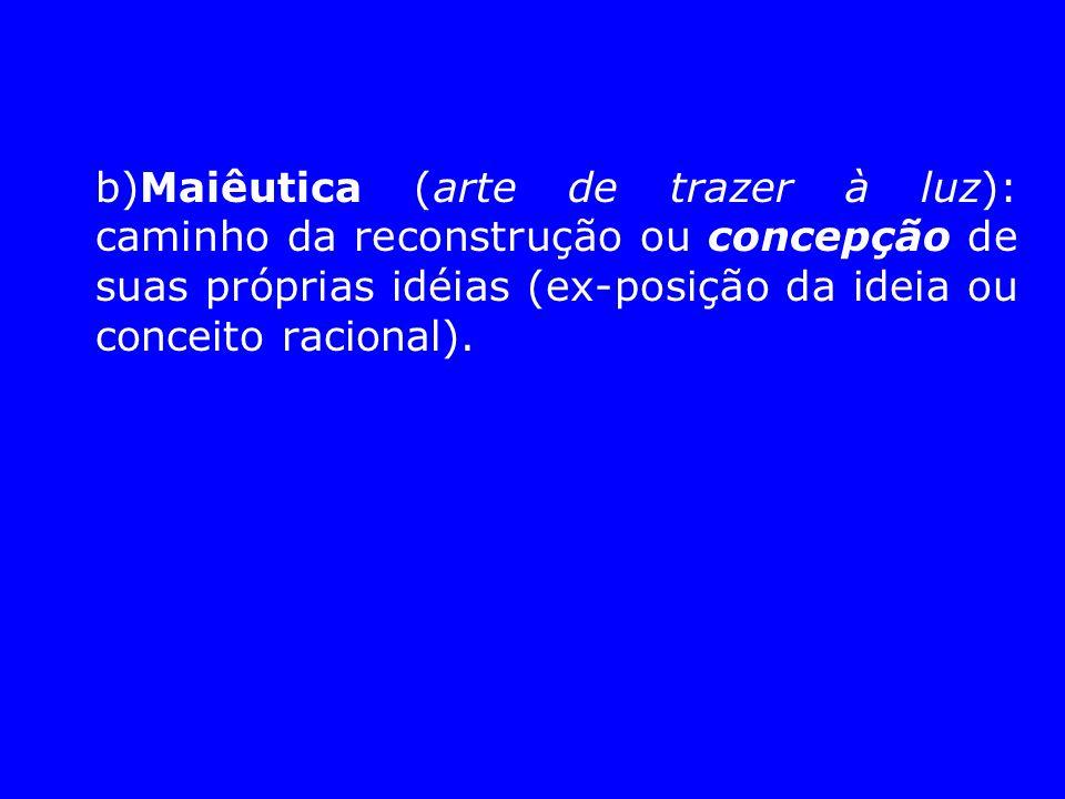 b)Maiêutica (arte de trazer à luz): caminho da reconstrução ou concepção de suas próprias idéias (ex-posição da ideia ou conceito racional).