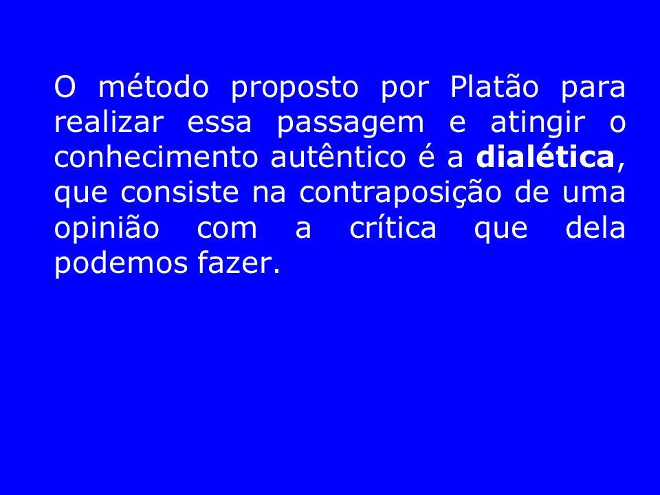 O método proposto por Platão para realizar essa passagem e atingir o conhecimento autêntico é a dialética, que consiste na contraposição de uma opinião com a crítica que dela podemos fazer.