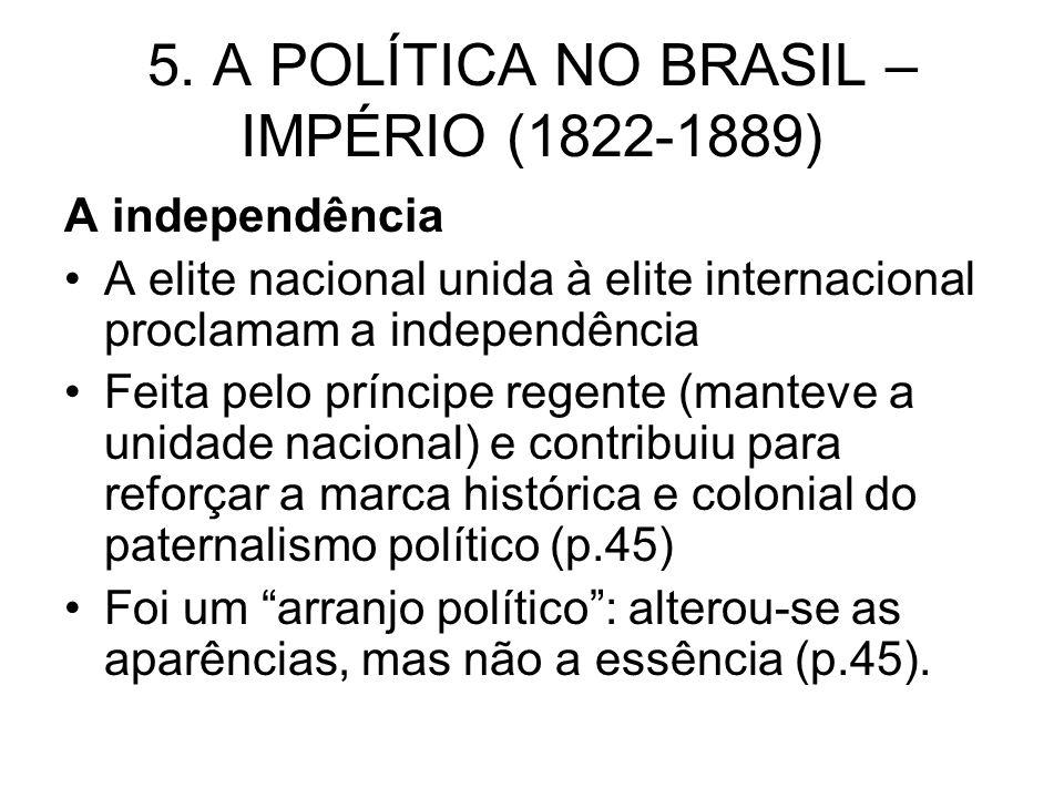 5. A POLÍTICA NO BRASIL – IMPÉRIO (1822-1889)