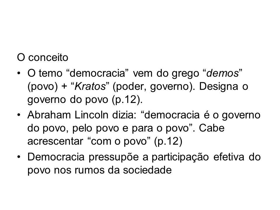 O conceito O temo democracia vem do grego demos (povo) + Kratos (poder, governo). Designa o governo do povo (p.12).