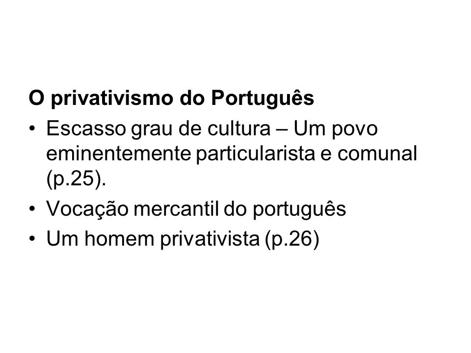 O privativismo do Português