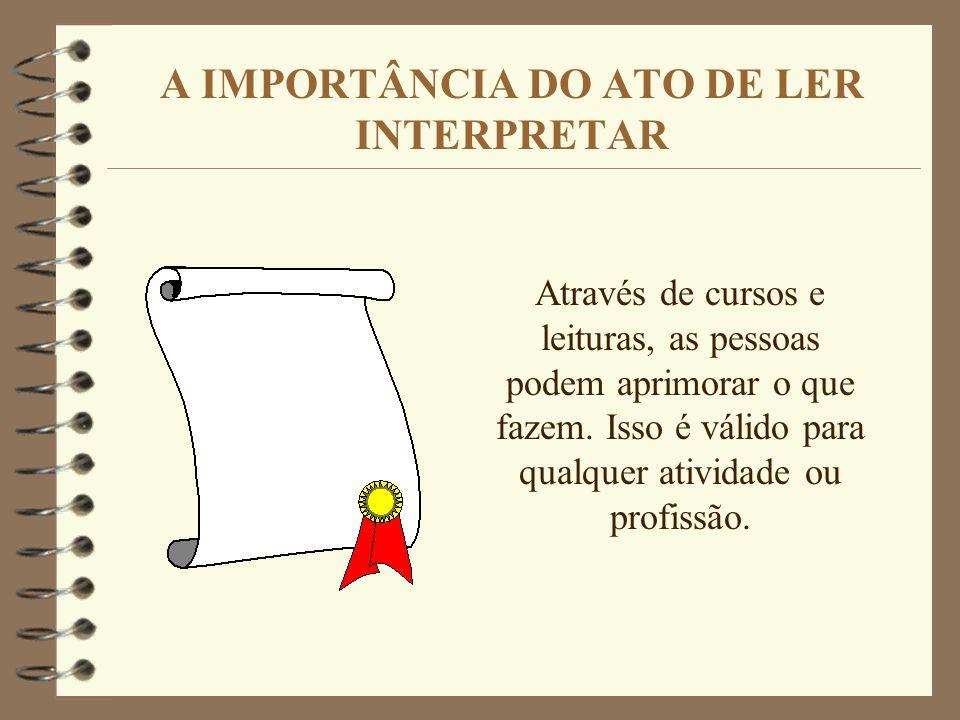 A IMPORTÂNCIA DO ATO DE LER INTERPRETAR