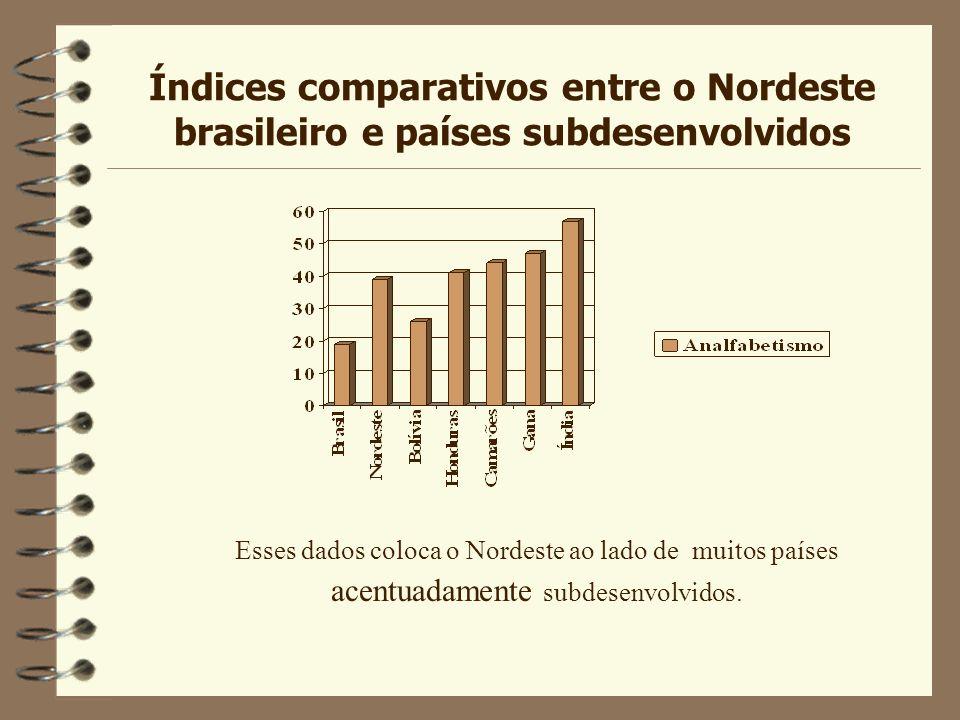 Índices comparativos entre o Nordeste brasileiro e países subdesenvolvidos