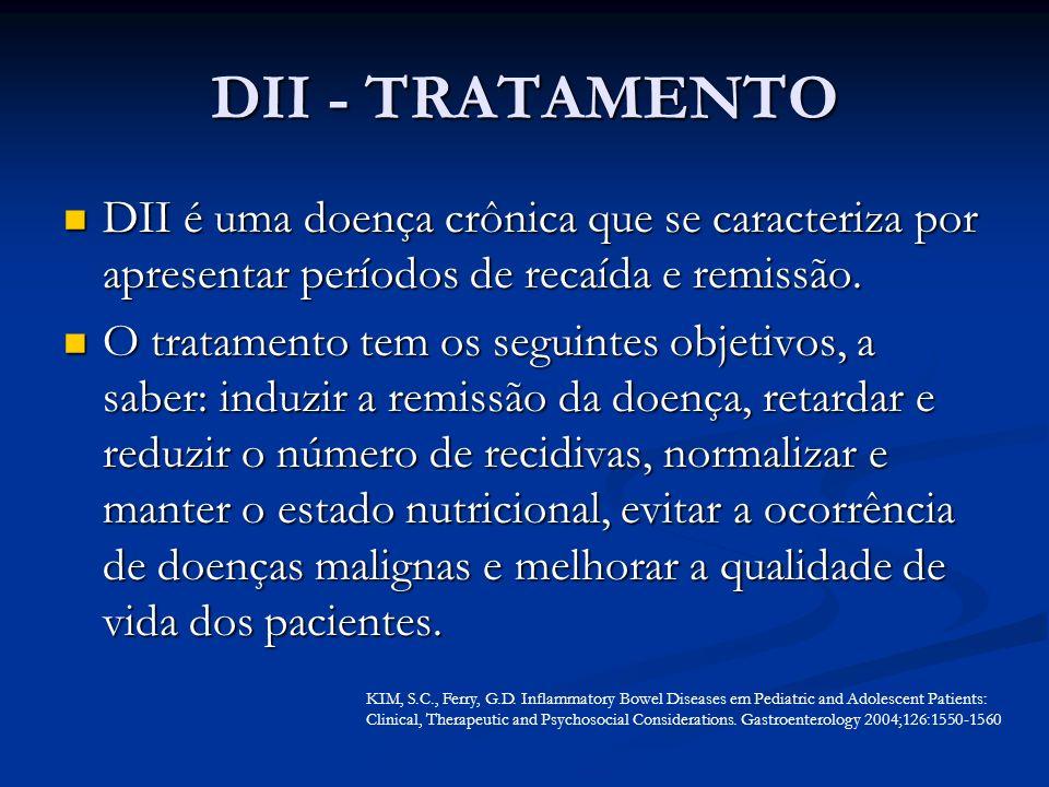 DII - TRATAMENTO DII é uma doença crônica que se caracteriza por apresentar períodos de recaída e remissão.