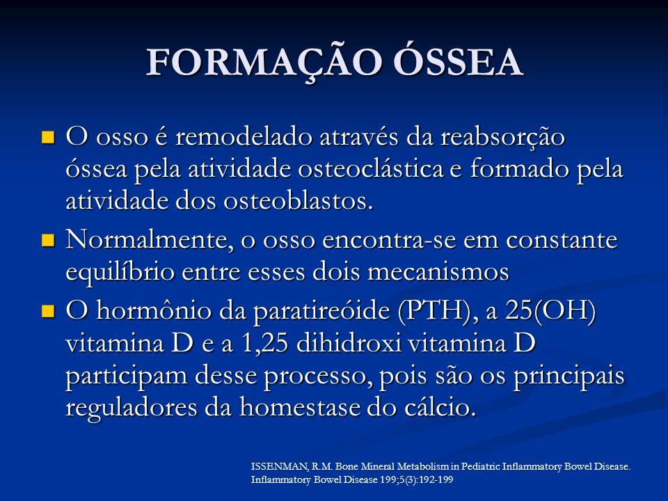 FORMAÇÃO ÓSSEA O osso é remodelado através da reabsorção óssea pela atividade osteoclástica e formado pela atividade dos osteoblastos.