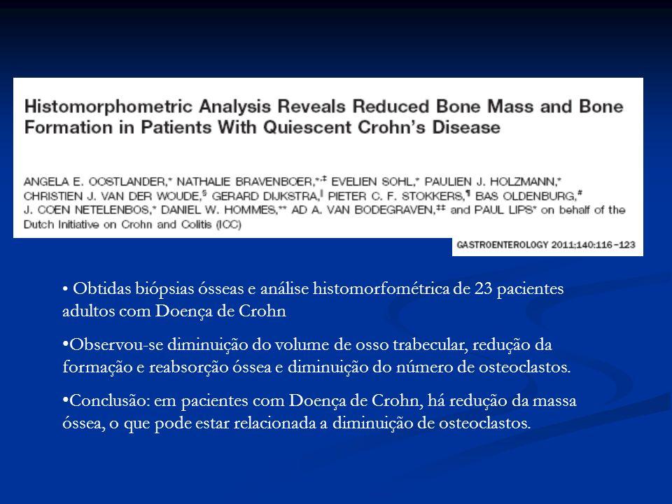 Obtidas biópsias ósseas e análise histomorfométrica de 23 pacientes adultos com Doença de Crohn