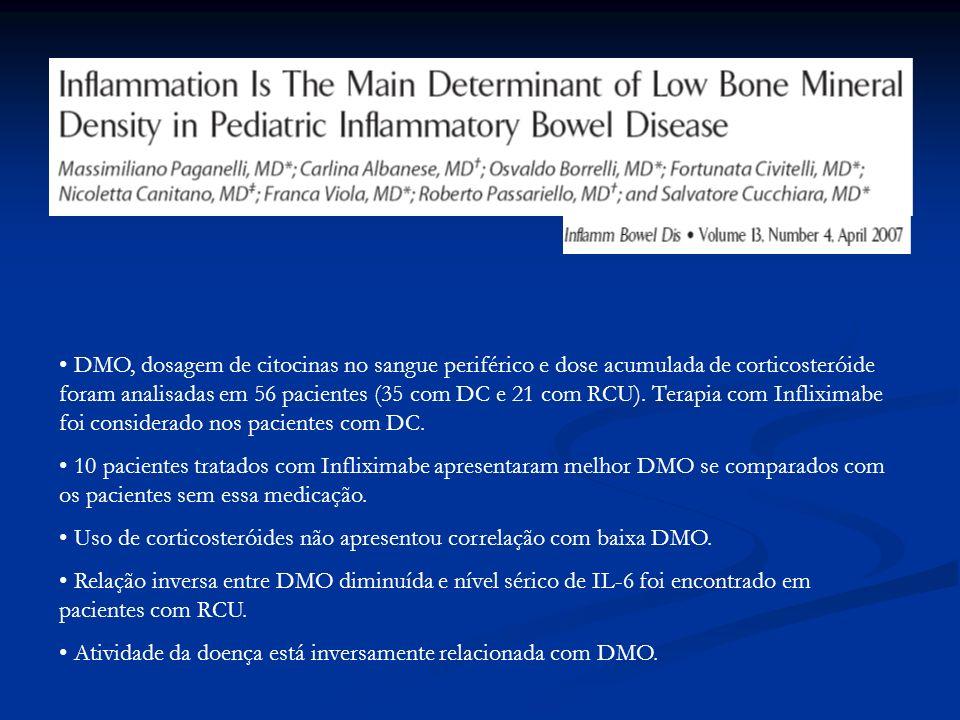 DMO, dosagem de citocinas no sangue periférico e dose acumulada de corticosteróide foram analisadas em 56 pacientes (35 com DC e 21 com RCU). Terapia com Infliximabe foi considerado nos pacientes com DC.