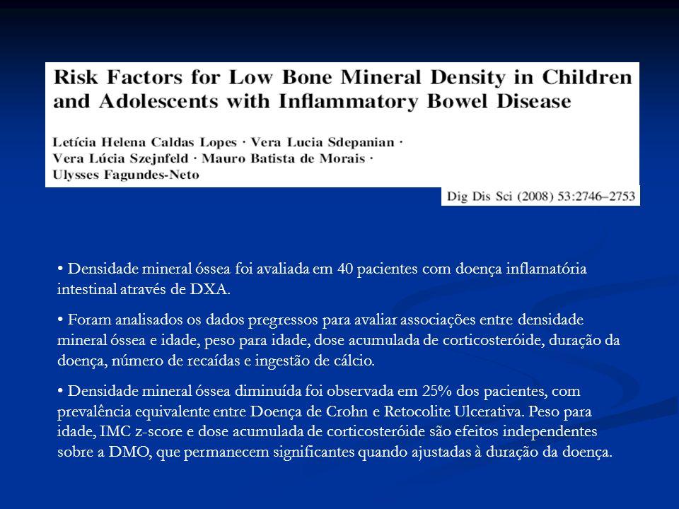 Densidade mineral óssea foi avaliada em 40 pacientes com doença inflamatória intestinal através de DXA.
