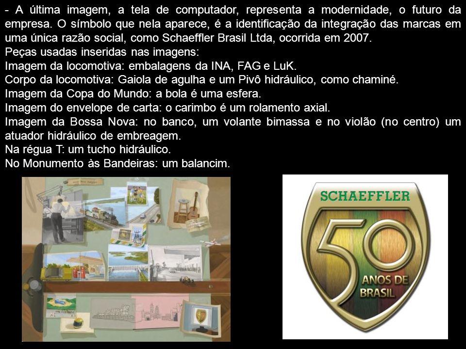 - A última imagem, a tela de computador, representa a modernidade, o futuro da empresa. O símbolo que nela aparece, é a identificação da integração das marcas em uma única razão social, como Schaeffler Brasil Ltda, ocorrida em 2007.
