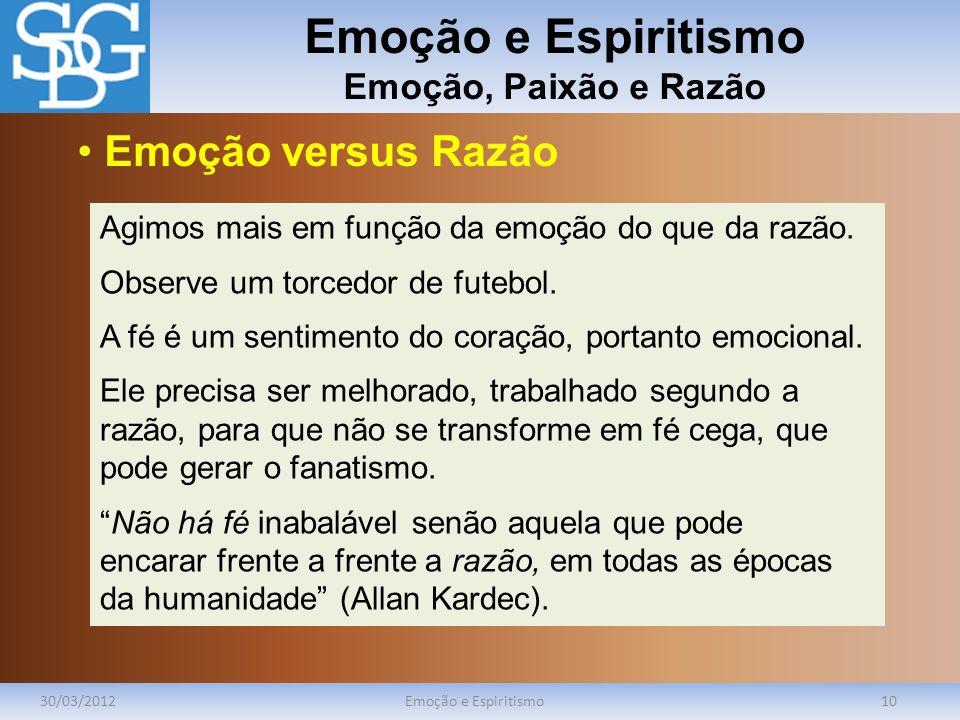 Emoção e Espiritismo Emoção, Paixão e Razão