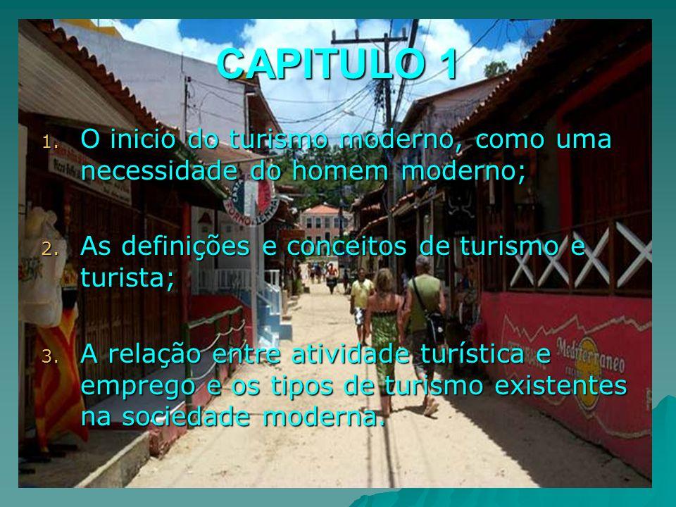 CAPITULO 1 O inicio do turismo moderno, como uma necessidade do homem moderno; As definições e conceitos de turismo e turista;