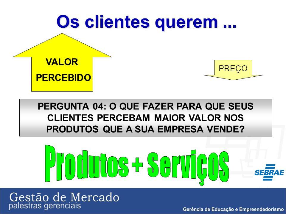 Os clientes querem ... Produtos + Serviços VALOR PERCEBIDO