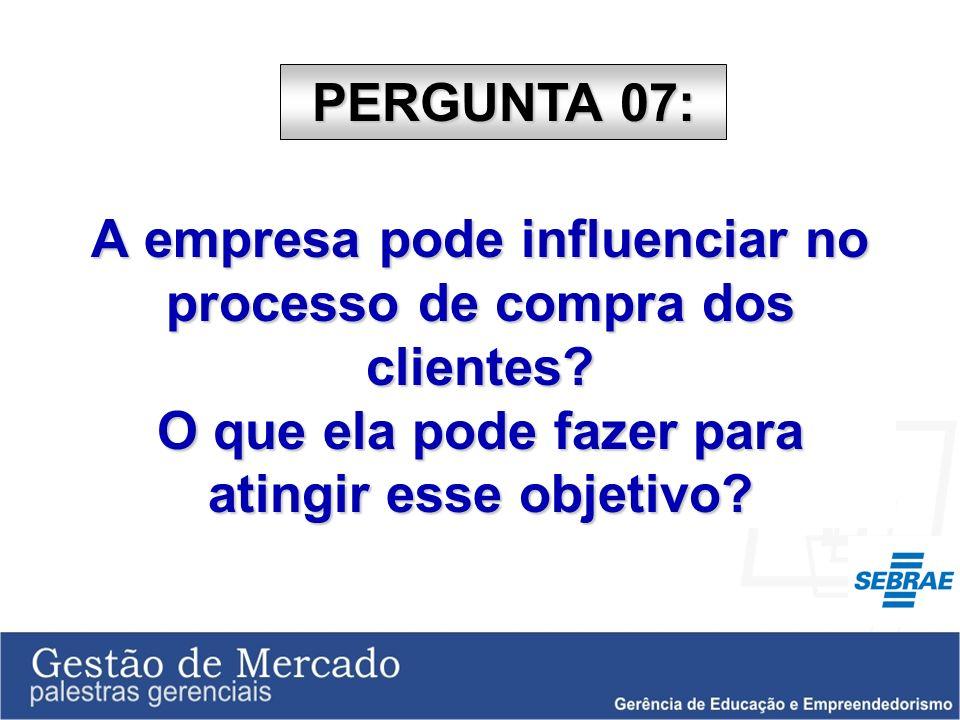 PERGUNTA 07: A empresa pode influenciar no processo de compra dos clientes.