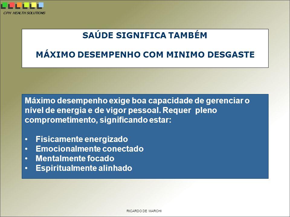 SAÚDE SIGNIFICA TAMBÉM MÁXIMO DESEMPENHO COM MINIMO DESGASTE