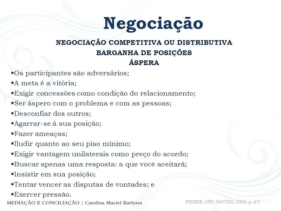 NEGOCIAÇÃO COMPETITIVA OU DISTRIBUTIVA