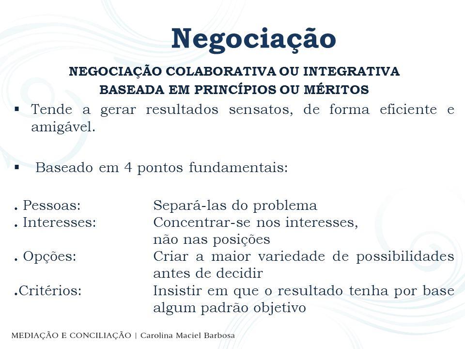 Negociação NEGOCIAÇÃO COLABORATIVA OU INTEGRATIVA. BASEADA EM PRINCÍPIOS OU MÉRITOS.