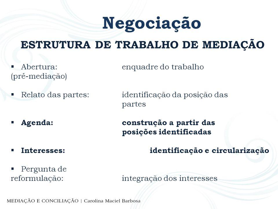 ESTRUTURA DE TRABALHO DE MEDIAÇÃO