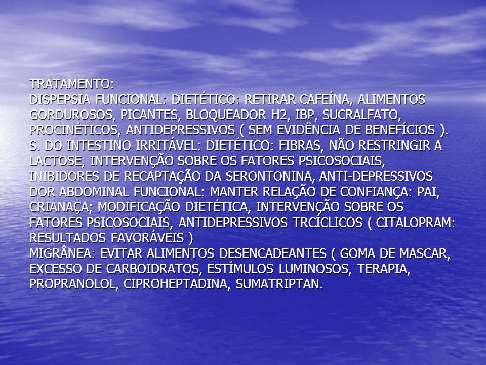 TRATAMENTO: DISPEPSIA FUNCIONAL: DIETÉTICO: RETIRAR CAFEÍNA, ALIMENTOS GORDUROSOS, PICANTES, BLOQUEADOR H2, IBP, SUCRALFATO, PROCINÉTICOS, ANTIDEPRESSIVOS ( SEM EVIDÊNCIA DE BENEFÍCIOS ).
