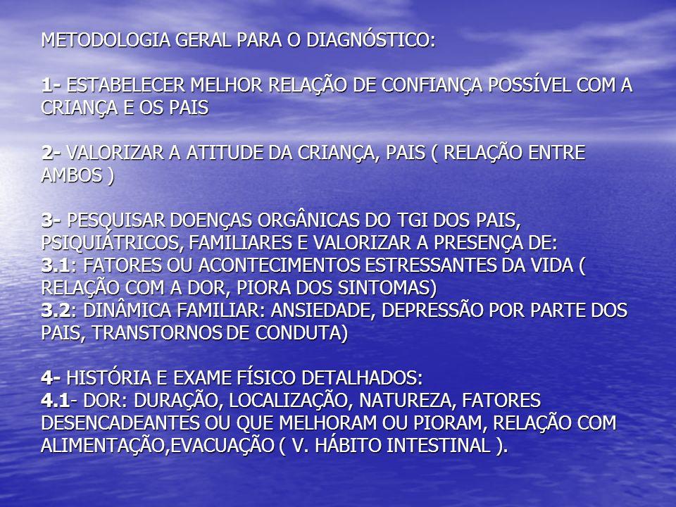 METODOLOGIA GERAL PARA O DIAGNÓSTICO: 1- ESTABELECER MELHOR RELAÇÃO DE CONFIANÇA POSSÍVEL COM A CRIANÇA E OS PAIS 2- VALORIZAR A ATITUDE DA CRIANÇA, PAIS ( RELAÇÃO ENTRE AMBOS ) 3- PESQUISAR DOENÇAS ORGÂNICAS DO TGI DOS PAIS, PSIQUIÁTRICOS, FAMILIARES E VALORIZAR A PRESENÇA DE: 3.1: FATORES OU ACONTECIMENTOS ESTRESSANTES DA VIDA ( RELAÇÃO COM A DOR, PIORA DOS SINTOMAS) 3.2: DINÂMICA FAMILIAR: ANSIEDADE, DEPRESSÃO POR PARTE DOS PAIS, TRANSTORNOS DE CONDUTA) 4- HISTÓRIA E EXAME FÍSICO DETALHADOS: 4.1- DOR: DURAÇÃO, LOCALIZAÇÃO, NATUREZA, FATORES DESENCADEANTES OU QUE MELHORAM OU PIORAM, RELAÇÃO COM ALIMENTAÇÃO,EVACUAÇÃO ( V.
