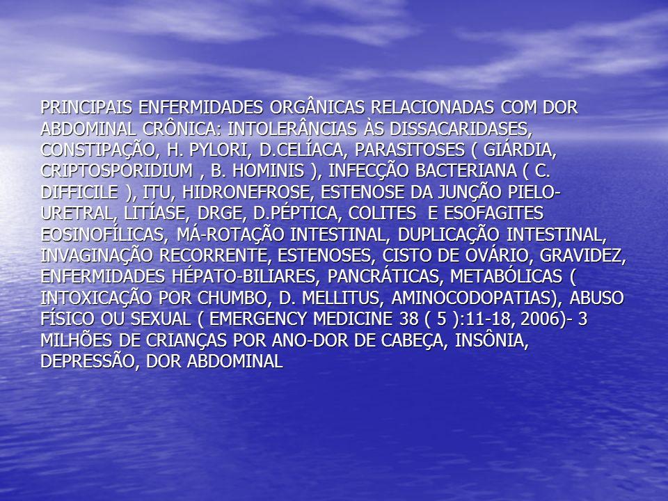 PRINCIPAIS ENFERMIDADES ORGÂNICAS RELACIONADAS COM DOR ABDOMINAL CRÔNICA: INTOLERÂNCIAS ÀS DISSACARIDASES, CONSTIPAÇÃO, H.