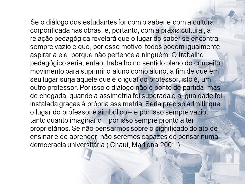 Se o diálogo dos estudantes for com o saber e com a cultura corporificada nas obras, e, portanto, com a práxis cultural, a relação pedagógica revelará que o lugar do saber se encontra sempre vazio e que, por esse motivo, todos podem igualmente aspirar a ele, porque não pertence a ninguém.