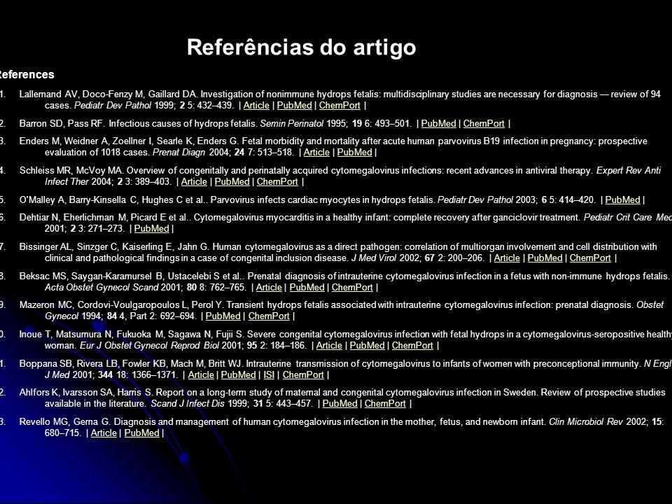 Referências do artigo References 1.
