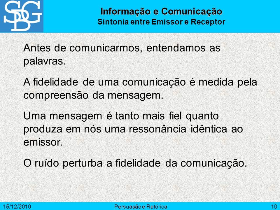 Informação e Comunicação Sintonia entre Emissor e Receptor