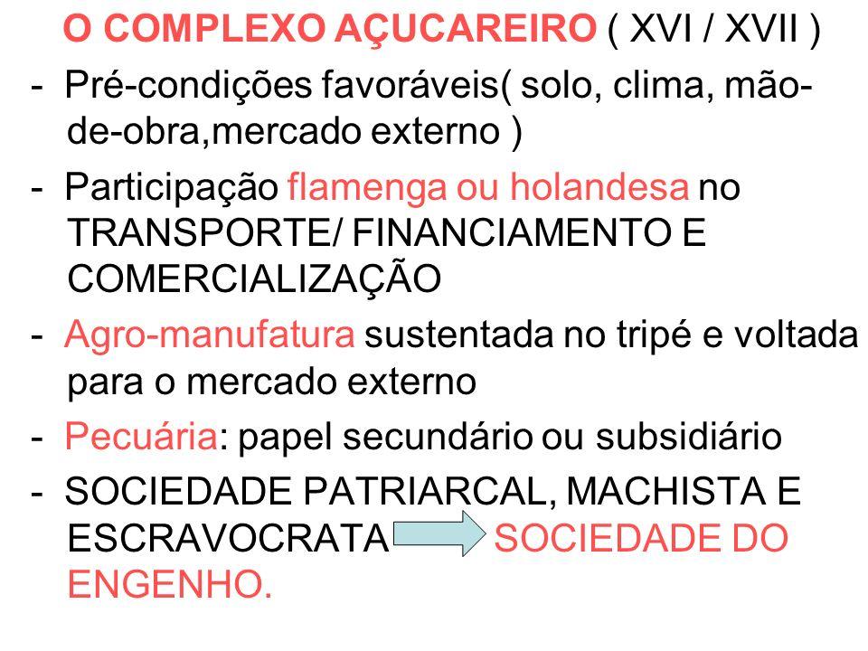 O COMPLEXO AÇUCAREIRO ( XVI / XVII )