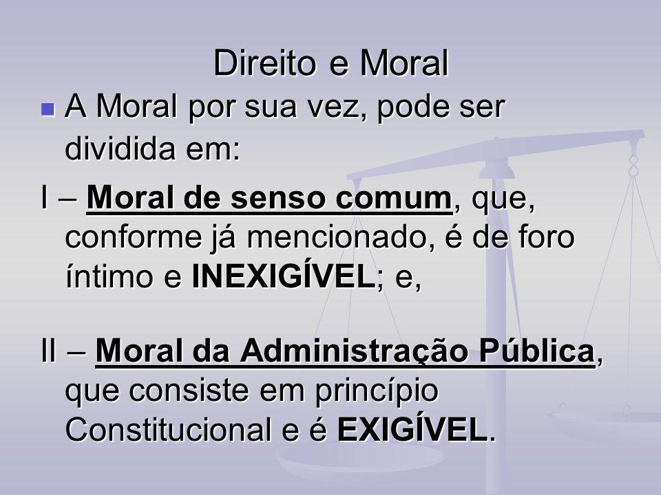 Direito e Moral A Moral por sua vez, pode ser dividida em: