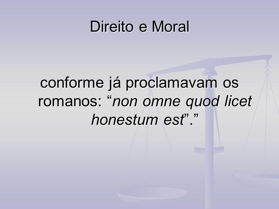 Direito e Moral conforme já proclamavam os romanos: non omne quod licet honestum est .