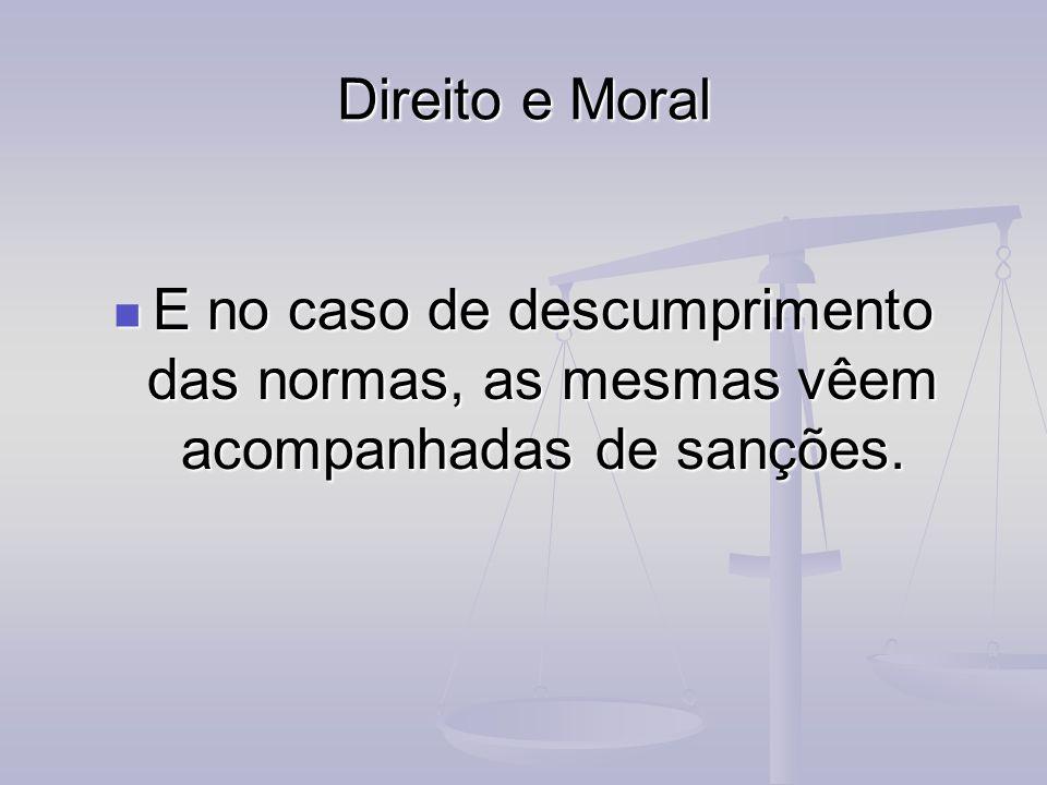 Direito e Moral E no caso de descumprimento das normas, as mesmas vêem acompanhadas de sanções.