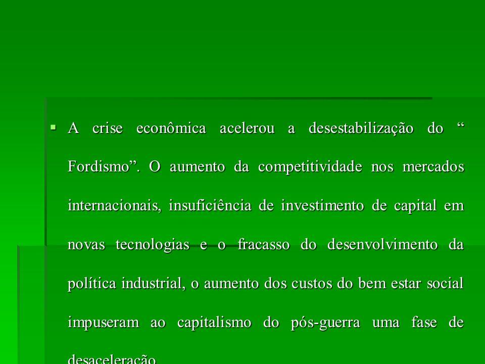 A crise econômica acelerou a desestabilização do Fordismo