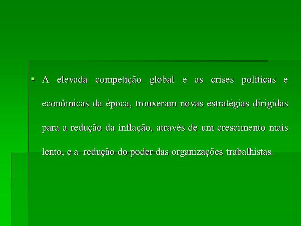 A elevada competição global e as crises políticas e econômicas da época, trouxeram novas estratégias dirigidas para a redução da inflação, através de um crescimento mais lento, e a redução do poder das organizações trabalhistas.