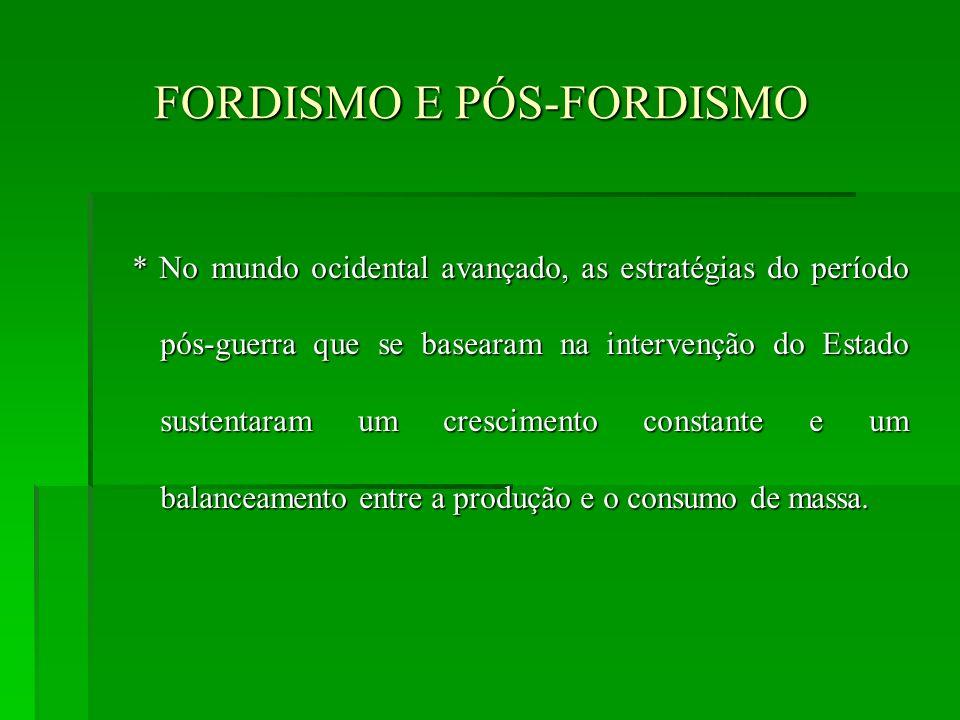FORDISMO E PÓS-FORDISMO