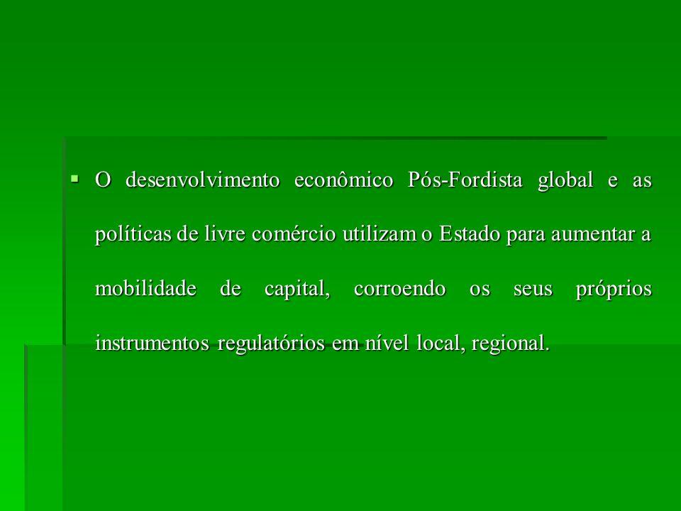 O desenvolvimento econômico Pós-Fordista global e as políticas de livre comércio utilizam o Estado para aumentar a mobilidade de capital, corroendo os seus próprios instrumentos regulatórios em nível local, regional.