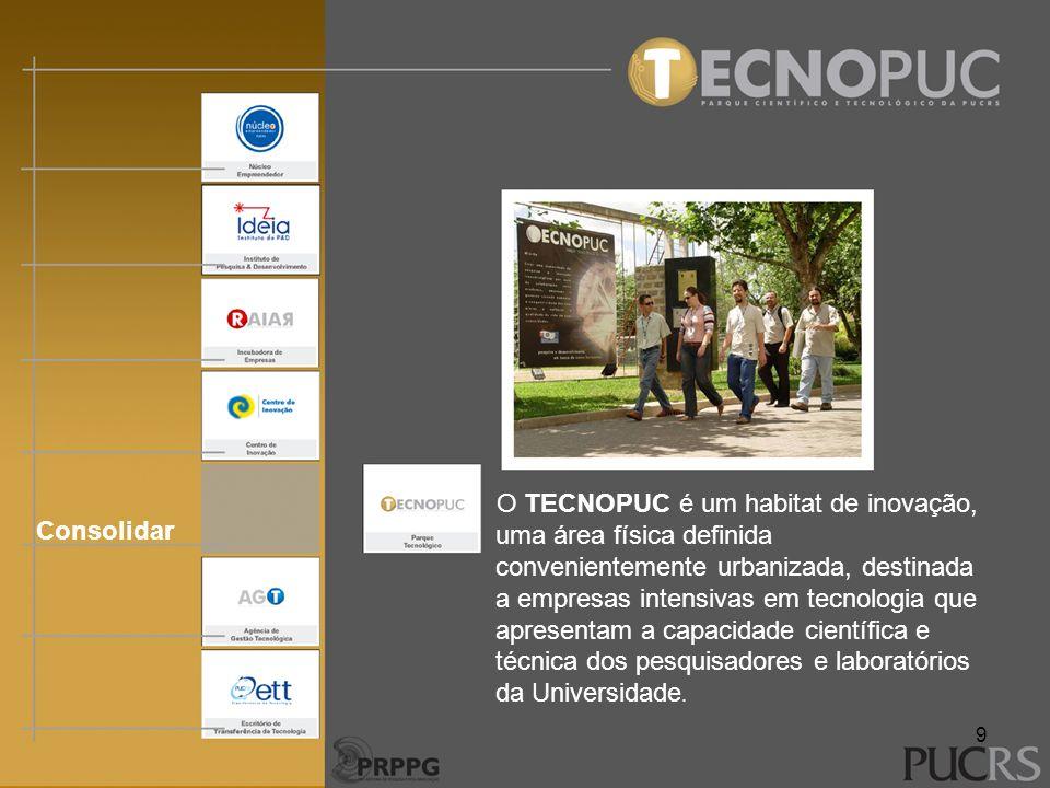 O TECNOPUC é um habitat de inovação, uma área física definida convenientemente urbanizada, destinada a empresas intensivas em tecnologia que apresentam a capacidade científica e técnica dos pesquisadores e laboratórios da Universidade.