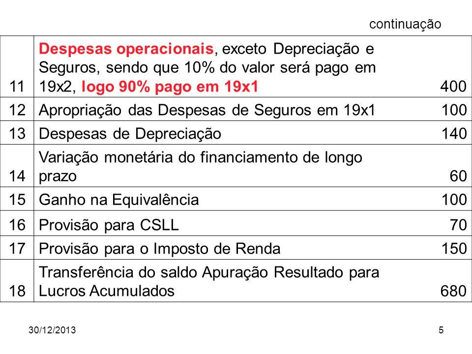 Apropriação das Despesas de Seguros em 19x1 100 13