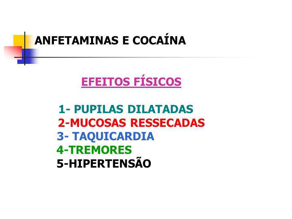 ANFETAMINAS E COCAÍNA EFEITOS FÍSICOS. 1- PUPILAS DILATADAS. 2-MUCOSAS RESSECADAS. 3- TAQUICARDIA.