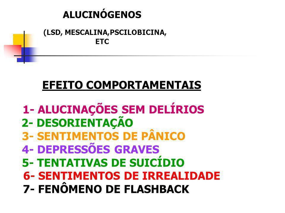 EFEITO COMPORTAMENTAIS 1- ALUCINAÇÕES SEM DELÍRIOS 2- DESORIENTAÇÃO