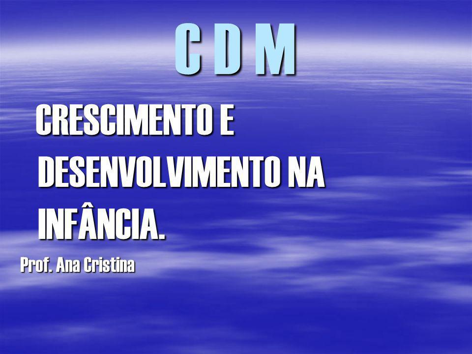 C D M CRESCIMENTO E DESENVOLVIMENTO NA INFÂNCIA. Prof. Ana Cristina