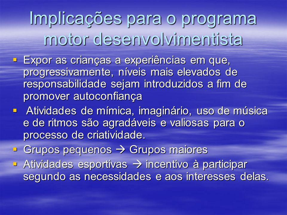 Implicações para o programa motor desenvolvimentista