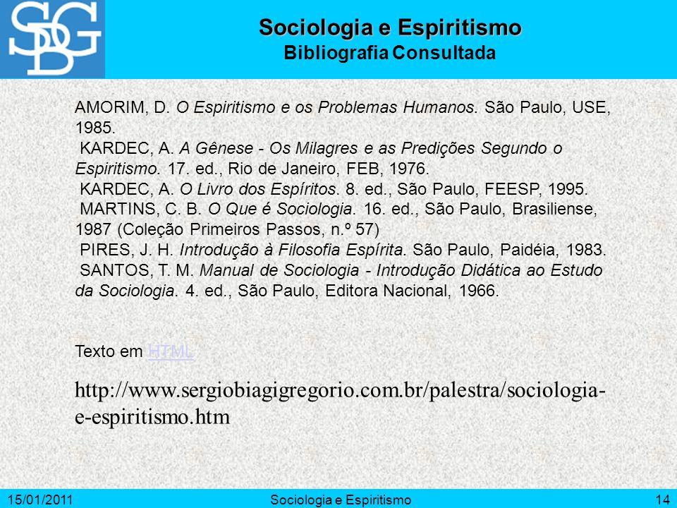 Sociologia e Espiritismo Bibliografia Consultada