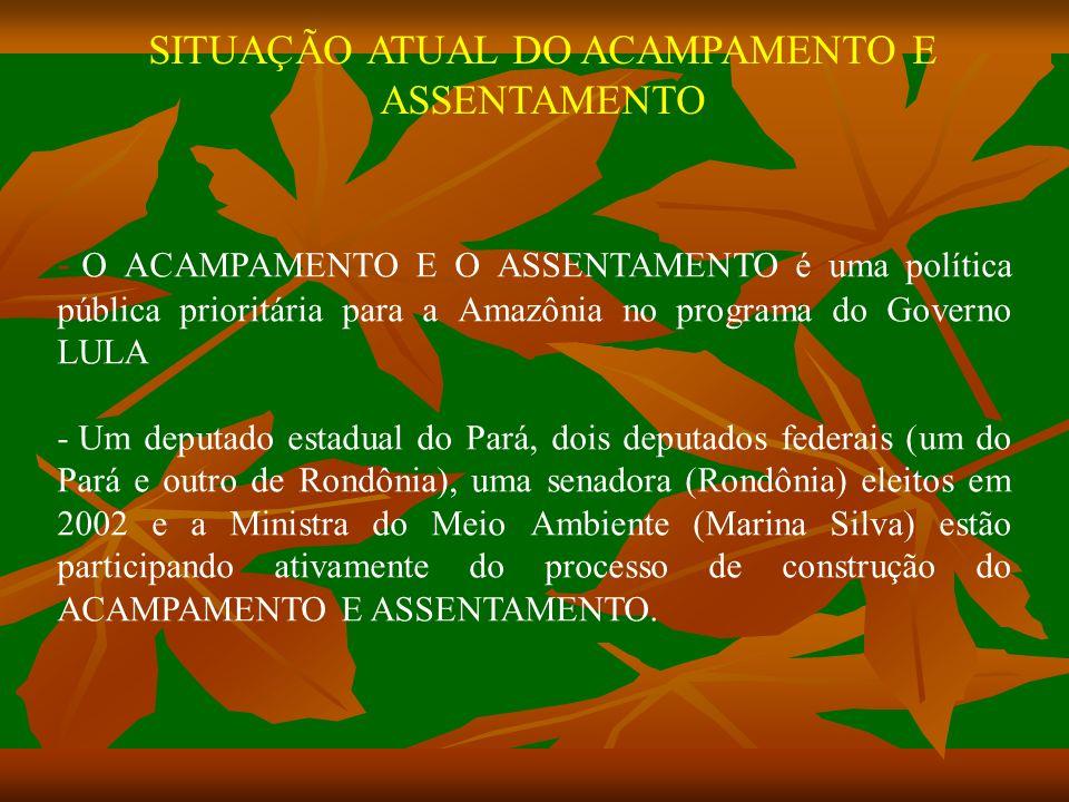 SITUAÇÃO ATUAL DO ACAMPAMENTO E ASSENTAMENTO