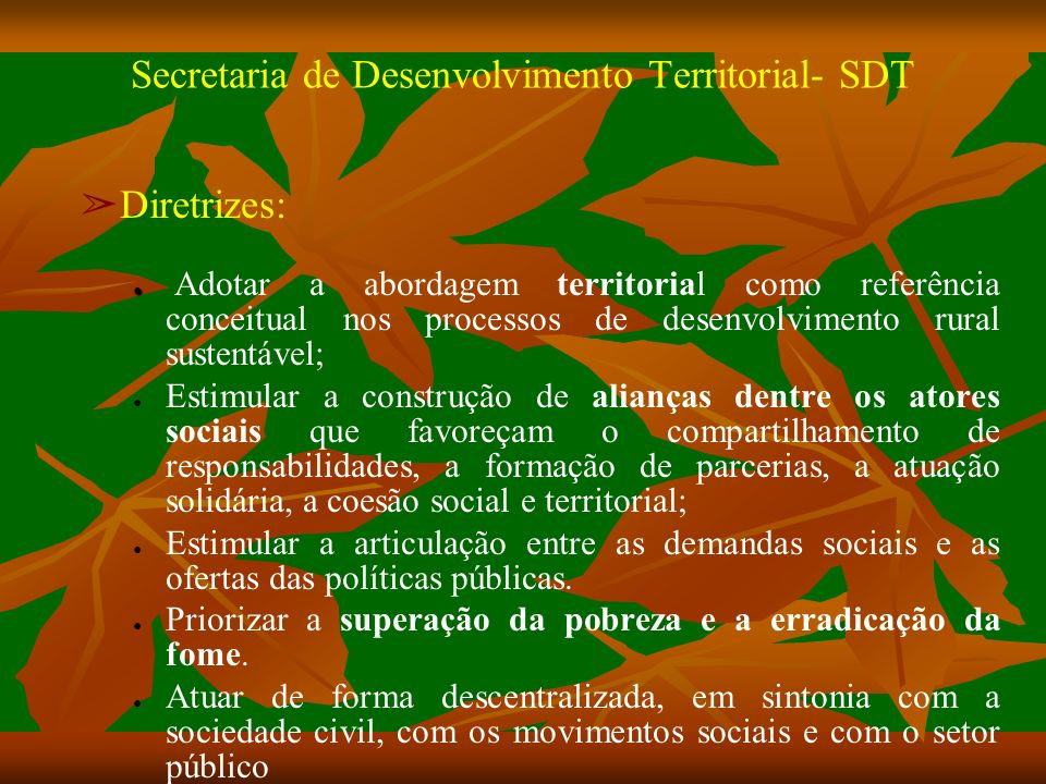 Secretaria de Desenvolvimento Territorial- SDT