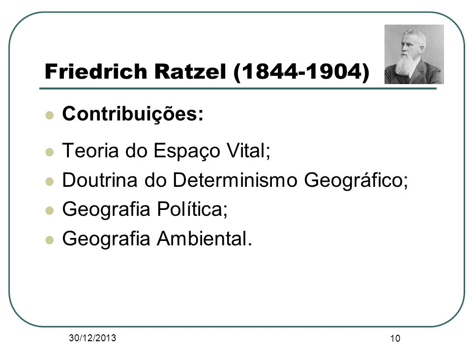 Friedrich Ratzel (1844-1904) Contribuições: Teoria do Espaço Vital;