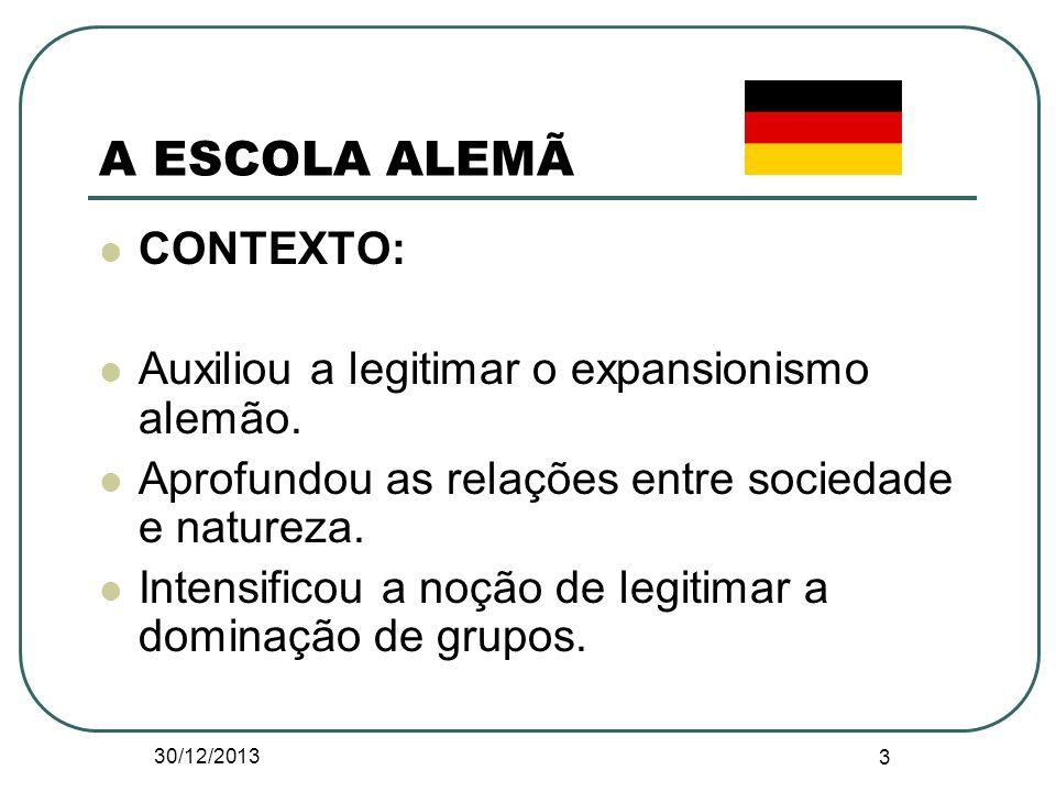 A ESCOLA ALEMÃ CONTEXTO: Auxiliou a legitimar o expansionismo alemão.