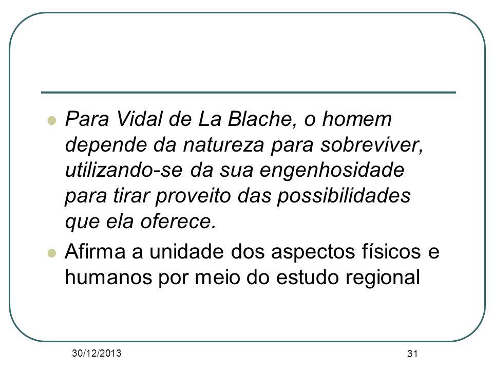 Para Vidal de La Blache, o homem depende da natureza para sobreviver, utilizando-se da sua engenhosidade para tirar proveito das possibilidades que ela oferece.