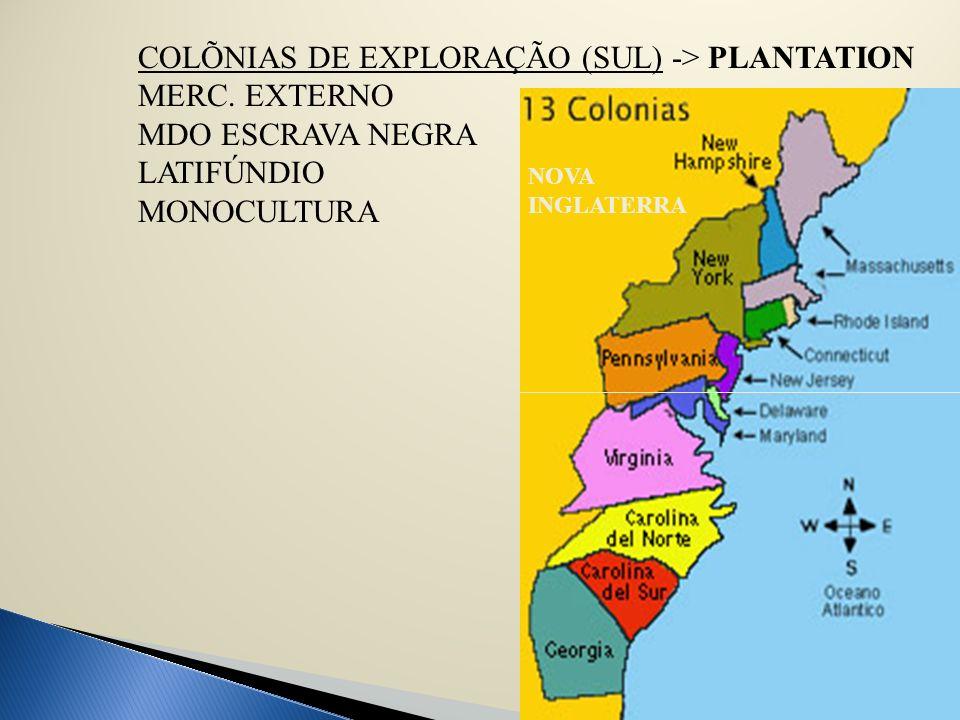 COLÕNIAS DE EXPLORAÇÃO (SUL) -> PLANTATION MERC. EXTERNO